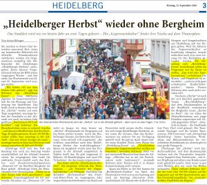 Heidelberger Herbst 2016 - wieder ohne Bergheim. Joe Schwarz (Heidelberg Marketing GmbH) im Interview mit der Rhein-Neckar-Zeitung am 12. September 2016