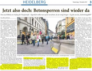 Betonsperren Heidelberger Weihnachtsmarkt 2017