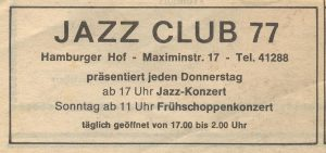 Anzeige Jazz Club 77 in Trier 1978