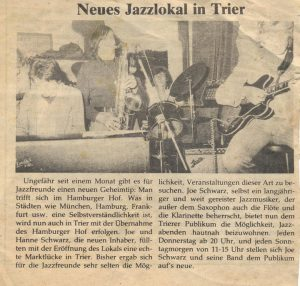 Jazz Club 77 in Trier mit Joe Schwarz