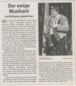 Nachruf Joe Schwarz in den Stuttgarter Nachrichten am 19.10.2004 - Der ewige Musikant - Joe Schwarz gestorben