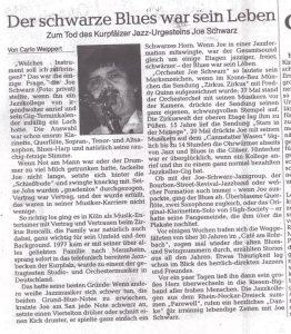 Nachruf Joe Schwarz - Rhein-Neckar-Zeitung im Oktober 2004