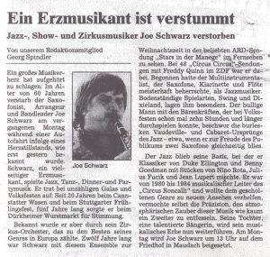 Nachruf Joe Schwarz im Mannheimer Morgen am 15. Oktober 2004