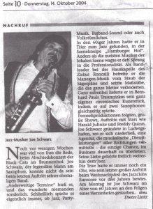 Nachruf Joe Schwarz im Volksfreund Trier am 14. Oktober 2004
