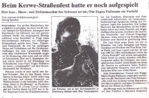 Nachruf Joe Schwarz in der Schriesheimer Zeitung am 16.10.2004