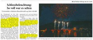 Nachbericht Rhein-Neckar-Zeitung über die zweite Schlossbeleuchtung 2018