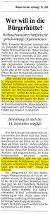 Aufruf Teilnahme Bürgerhütte am Heidelberger Weihnachtsmarkt von Joe Schwarz in der Rhein Neckar Zeitung.