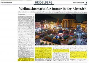 Rhein Neckar Zeitung mit einem Vorbericht zum Heidelberger Weihnachtsmarkt 2018.