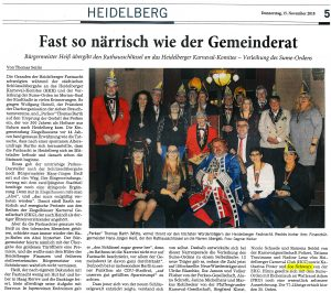 Joe Schwarz erhält den Sume Orden des Heidelberger Karneval Komitee 2018. Auf Vorschlag der Ziegelhäuser Karneval Gesellschaft hat Joe Schwarz die höchste Auszeichnung der Heidelberger Fastnacht - den Sume Orden - verliehen bekommen.