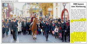 RNZ ARtikel über den Martinszug in Heidelberg am 11.11.2018 - Erwähnung Joe Schwarz Heidelberg Marketing