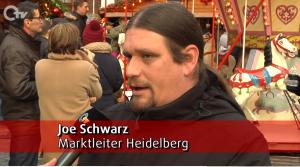 Joe Schwarz (Joe Schwarz - Heidelberg Marketing GmbH) im Gespräch mit OTV auf dem Heidelberger Weihnachtsmarkt 2018