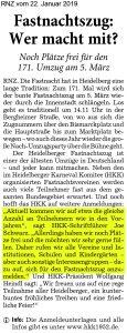 Aufruf zur Teilnahme am Fastnachtszug in Heidelberg - Zitat Joe Schwarz Schriftführer Heidelberger Karneval Komitee HKK