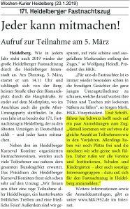 Aufruf zur Teilnahme beim Heidelberger Fastnachtszug 2019 - Joe Schwarz Heidelberger Karneval Komitee (HKK)