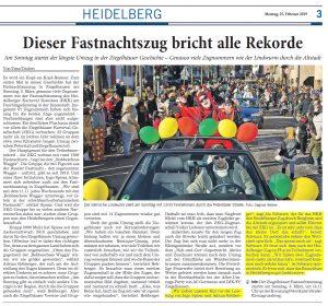 Fastnachtszug Ziegelhausen Heidelberg - Stellungnahme Joe Schwarz HKK - Joe Schwarz lobt Leistung der Ziegelhäuser Karneval Gesellchaft 1913 e.V.