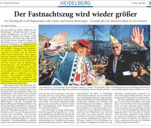 Heidelberger Fastnachtszug wird wieder größer! Joe Schwarz - HKK - im Interview mit der RNZ