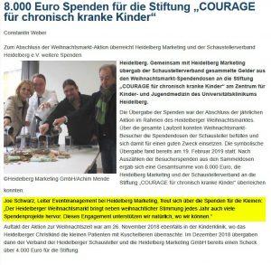 Schaustellerverband Heidelberg e.V. und Heidelberg Marketing GmbH sammeln für die Stiftung Courage in Heidelberg