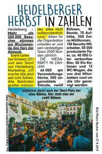 Bild Rhein-Neckar Vorankündigung Heidelberger Herbst 2019 - Joe Schwarz und sein Team! Heidelberger Herbst in Zahlen!