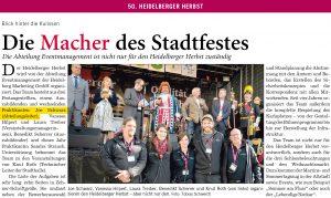 Die Macher des Heidelberger Herbstes - Joe Schwarz und sein Team. RNZ Sonderbeilage vom 21.09.2019