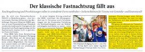 Heidelberger Fastnachtszug 2020 fällt aus - Joe Schwarz