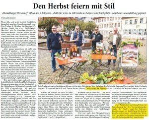Heidelberger Weindorf - Rhein-Neckar-Zeitung vom 1.10.2021